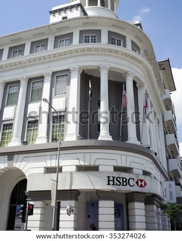 IPOH, PERAK, MALAYSIA - Dec 12, 2015 - A Victorian Neo-Renaissance heritage building in Ipoh at Belfield Street, housing the local international bank, HSBC.