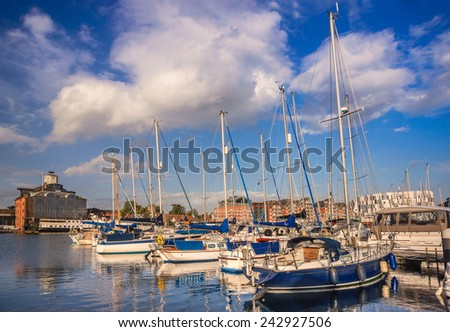 Ipswich marina in Suffolk - stock photo