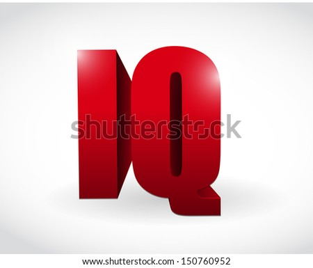 iq 3d text word illustration design over white - stock photo