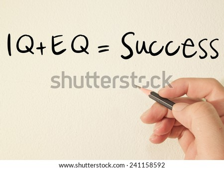 IQ + EQ = success text concept write on wall  - stock photo