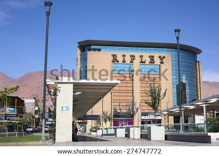 IQUIQUE, CHILE - FEBRUARY 11, 2015: Ripley Chilean department store on the corner of the streets Vivar and Tarapaca on February 11, 2015 in Iquique, Chile