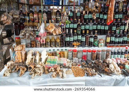 IQUITOS, PERU - MARCH 17: Animals parts and jungle spices for sale in Belen Market in Iquitos, Peru on March 17, 2015