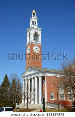 Ira Allen Chapel in University of Vermont (UVM), Burlington, Vermont, USA - stock photo