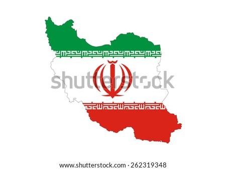Iran Country Flag Map Shape Symbol Stock Illustration 262319348