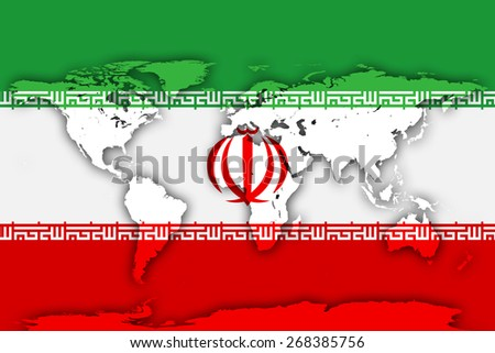 Iran flag and world map background - stock photo