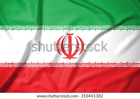 iran flag on soft and smooth silk texture