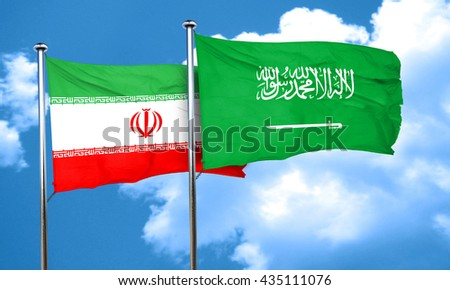 iran flag with Saudi Arabia flag, 3D rendering  - stock photo