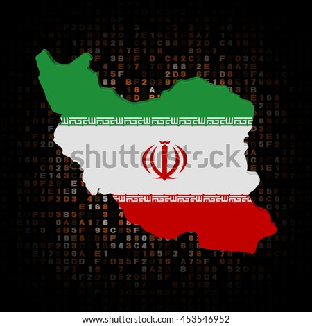 Iran map flag on hex code 3d illustration