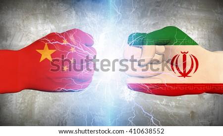 Iran vs China 3D Render - stock photo