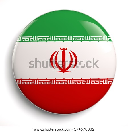 Iranian flag design icon. Clipping path included.