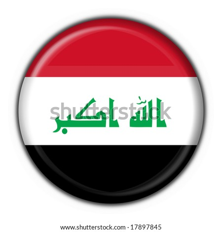 Iraq button flag round shape