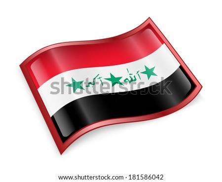 Iraq flag icon, isolated on white background - stock photo