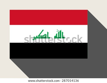 Iraq flag in flat web design style. - stock photo