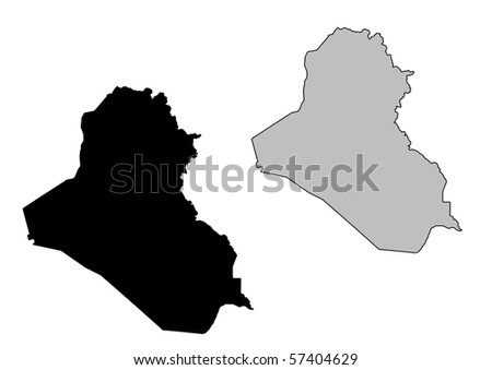 Iraq map. Black and white. Mercator projection. - stock photo