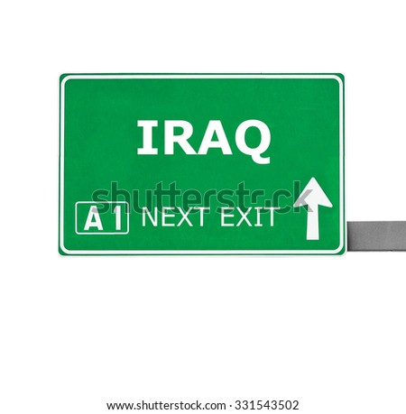 IRAQ road sign isolated on white