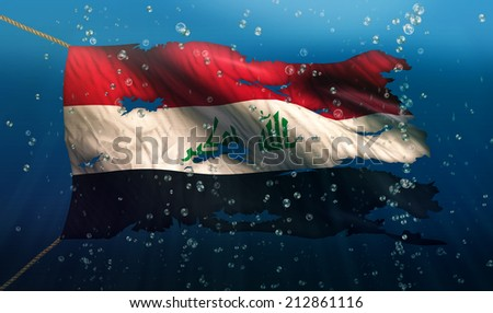 Iraq Under Water Sea Flag National Torn Bubble 3D - stock photo