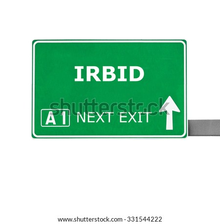 IRBID road sign isolated on white