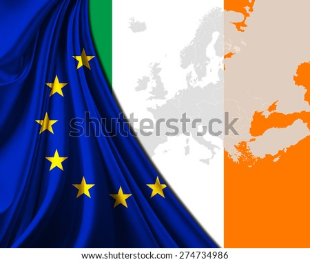 Ireland and European Union Flag with Europe map background - stock photo
