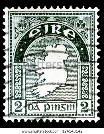 """IRELAND - CIRCA 1922: A stamp printed in Ireland shows Map of Ireland, without the inscription, from the series """"Map of Ireland"""", circa 1922 - stock photo"""