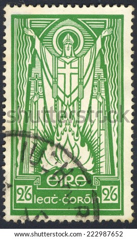 IRELAND - CIRCA 1943: A stamp printed in Ireland shows St. Patrick and Paschal Fire, circa 1943 - stock photo