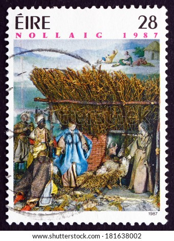 IRELAND - CIRCA 1987: a stamp printed in the Ireland shows Neapolitan Creche, Detail, Christmas, circa 1987 - stock photo