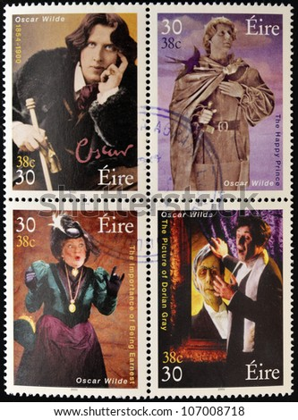 IRELAND - CIRCA 2000: Four stamps dedicated to Oscar Wilde, the most famous writer, poet and playwright Irish, circa 2000