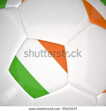 Ireland flag on 3d football for Euro 2012 Group C