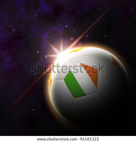 Ireland flag on 3d football with rising sun illustration for Euro 2012 Group C - stock photo
