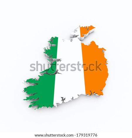 ireland flag on 3d map - stock photo