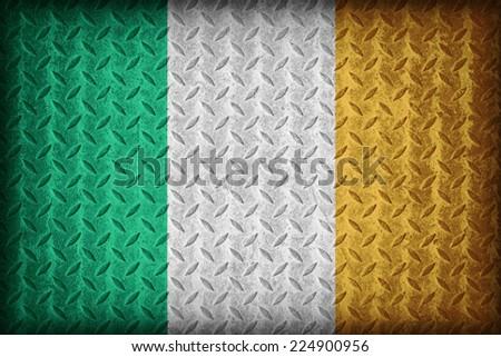 Ireland flag pattern on the diamond metal plate texture ,vintage style - stock photo