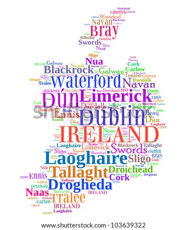 Ireland map and words cloud with larger cities