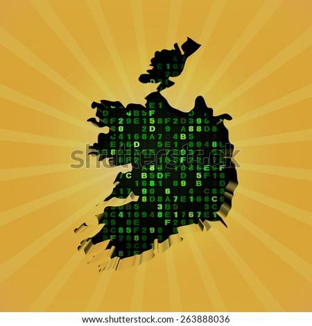 Ireland sunburst map with hex code illustration - stock photo