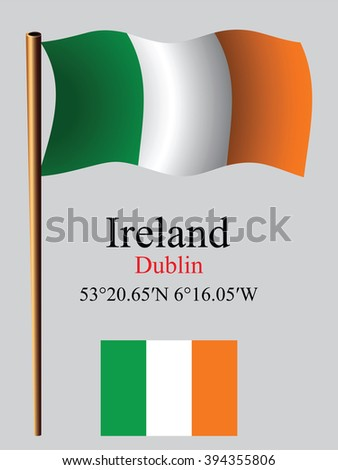 ireland wavy flag and coordinates against gray background, art illustration, image contains transparency