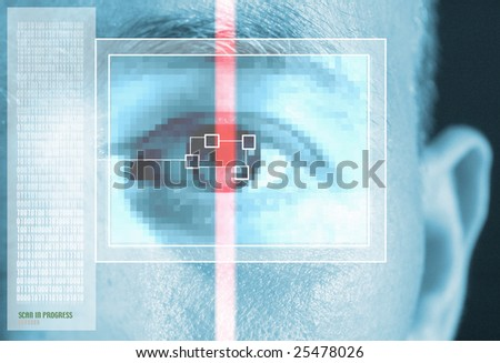 iris scan for security or identification. Eye with scanner and computer interface - stock photo