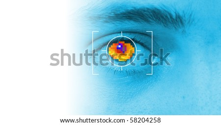 iris security scan of eye. digital security identification or password based on biometric data - stock photo