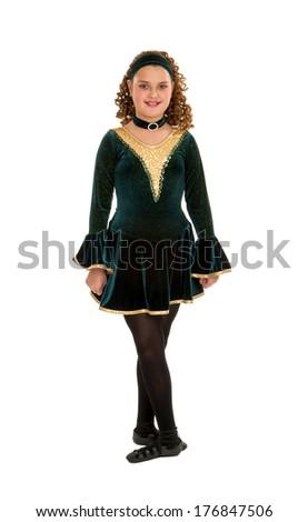 Irish Celtic Teen Dancer in Green Recital Costume - stock photo