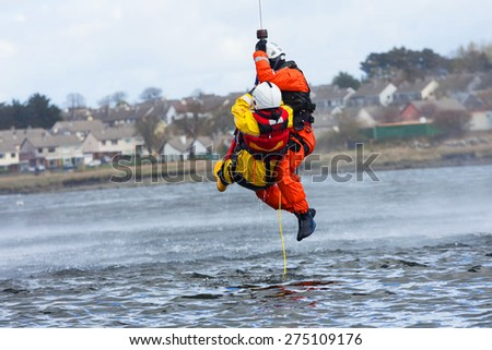 Irish Coast Guard crew display a water rescue training in the sea