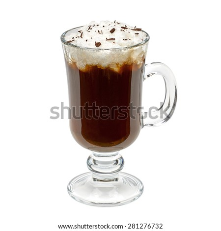 Irish coffee isolated on white background including clipping path - stock photo