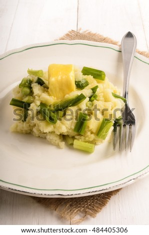 irish colcannon, with mashed potato, spring onion and butter, specialty to celebrate st. patrick's day every march 17.