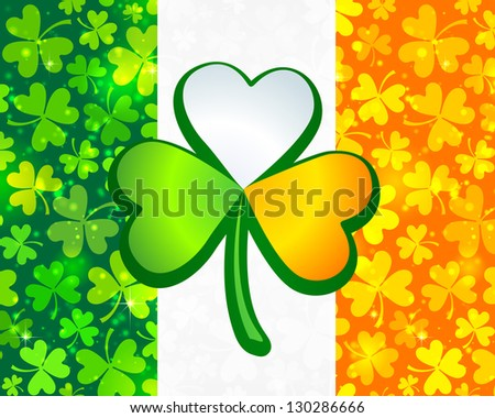 Irish flag background made from green and orange clovers with big clover on it. Raster illustration. - stock photo