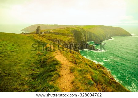 Irish landscape. Coastline atlantic ocean rocky coast scenery. County Cork, Ireland Europe. Beauty in nature. filtered. - stock photo