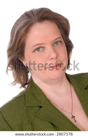 Irish woman with green outfit and green eyes isolated over white - stock photo