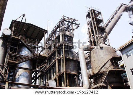 Iron and steel equipment and pipeline in a factory