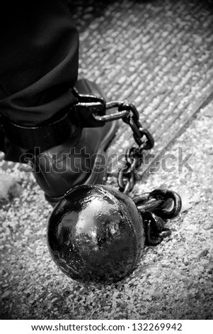 iron ball on the foot - stock photo