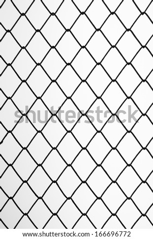 Iron black wire fence on isolated background