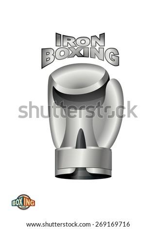 Iron Boxing Glove.  Logo boxing Club. metal cup - stock photo