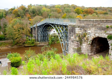 Iron Bridge- middle England over river Severn - stock photo