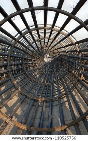 iron bundle of reinforced(iron cage) - stock photo