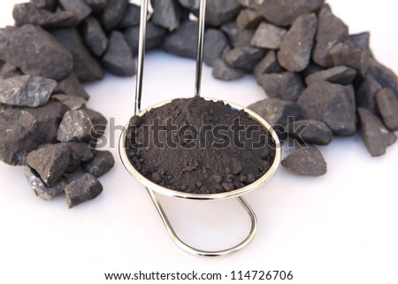 Iron Concentrate and iron ore - stock photo
