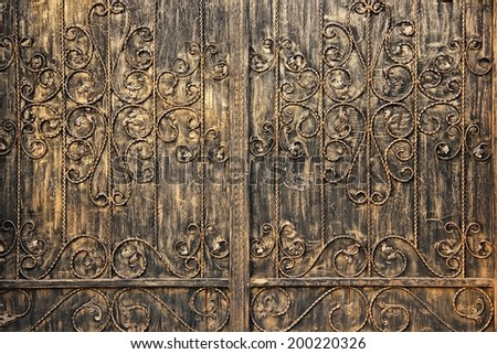 Iron doors texture background. - stock photo